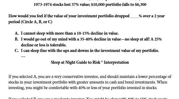 Investment Diversification Strategy – How to Figure Out My Risk Tolerance