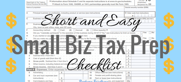 Short and Easy Small Business Tax Preparation Checklist
