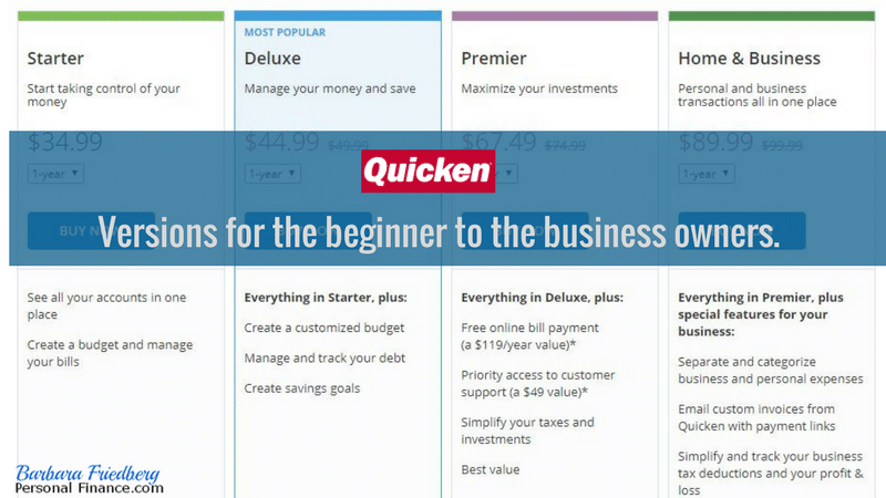 Quicken versions and descriptions - basic, starter, premier, and home and business